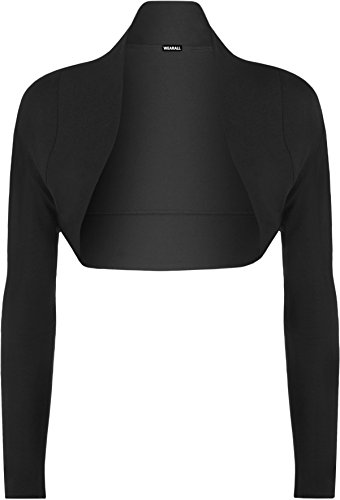 WearAll - Damen Bolero langarm Top - Schwarz - 40-42