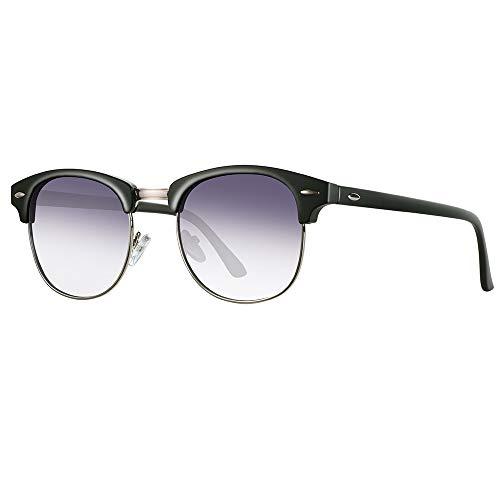 (Semi Rimless Clubmaster Sunglasses for men- Half Frame Polarized Classic With Box FEIDU FD4003 (Gradient/purple, 2.04))