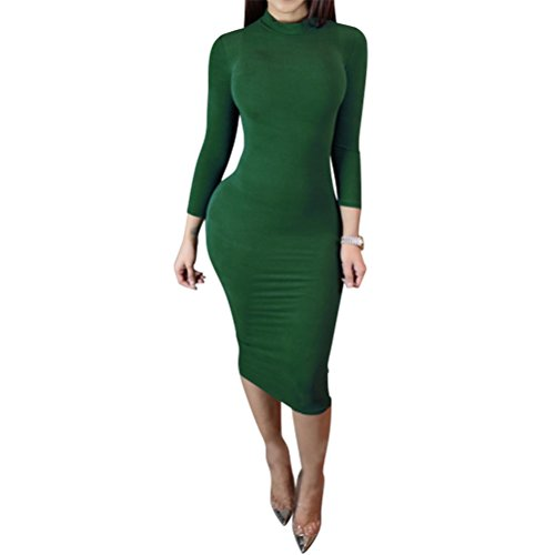 Laiyuan Women Turtleneck Long Sleeve Slim Bodycon Wrap Tunic Pencil Midi Dress L Green