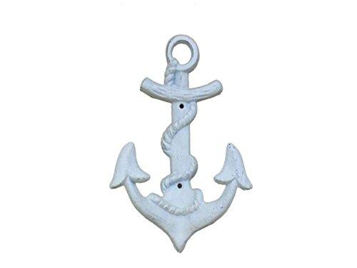 Hampton Nautical  Decorative Cast Iron Wall Decor Anchor Hook, Whitewashed
