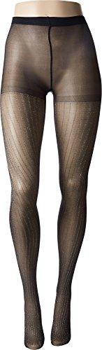 Betsey Johnson Womens 1-Pack Lurex Stripe Tights Black/Silver MD/LG One (Lurex Pantyhose)