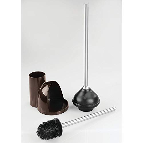 mDesign Compact Plastic Toilet Bowl Brush and Plunger Combo Set with Holder - Caddy for Bathroom Storage - Sturdy, Heavy Duty, Deep Cleaning - 2 Pack - Dark Brown/Brushed by mDesign (Image #5)
