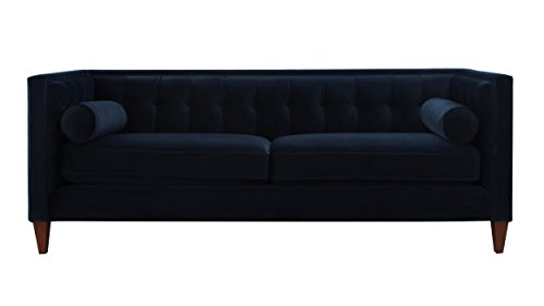 Jennifer Taylor Home, Sofa, Satin Teal, Velvet, Hand Tufted, Hand Painted and Hand Rub Finished Wooden Legs