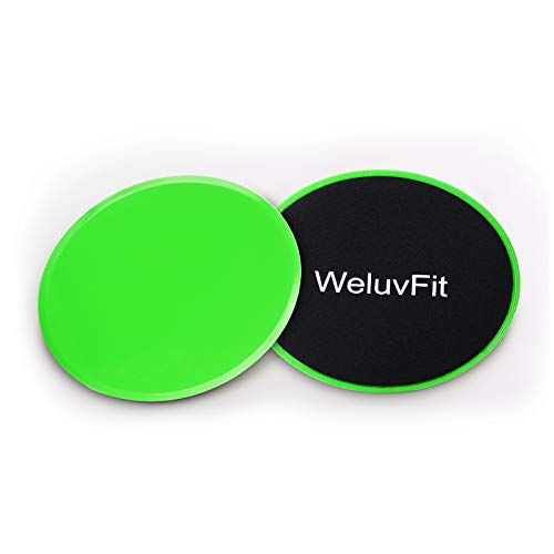 WeluvFit Fitness Core Sliders Set of 2 - Dual Sided Gliding Discs for Hardwood Or Carpeted Surfaces - Ideal for Abs and Full Body Workout Fitness Exercise