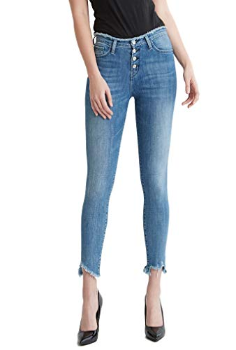 (Flying Monkey Speakeasy Raw Waist Hem Exposed Button Up Fly High Rise Ankle Skinny Jeans Y3108 (26/3))