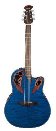 (Ovation CE44P-8TQ Acoustic-Electric Guitar, Trans Blue Quilt Maple)