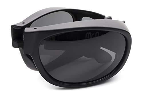 Folding Fitover Sunglasses with Polarized Lenses, Leather Case and Microfiber Cloth (Matt Black, ()