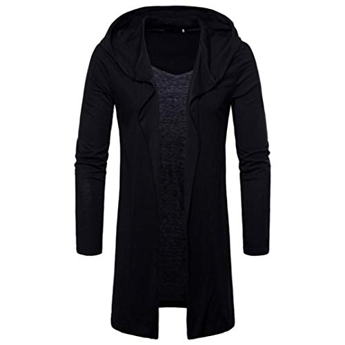NEARTIME Men's Personality Long Coat New Hooded Solid Color Jacket Trench Cardigan Long Sleeve Outwear Blouse