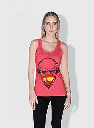 Creo Spain Skull Tanks Tops For Women - S, Pink