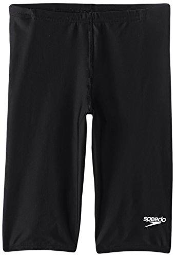 Speedo Big Boys' PowerFLEX Eco Solid Jammer Swimsuit, New Black, 28