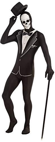 Forum Novelties Unisex Disappearing Man Patterned Stretch Body Suit Costume Skull Tuxedo, Black/White, Medium/Large