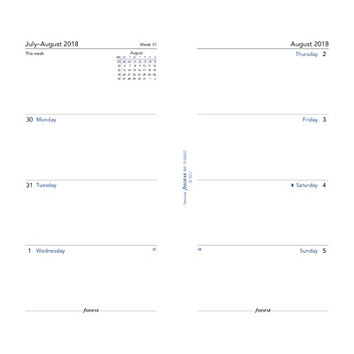 Filofax 2018 Personal/Compact Academic Week to View Refill, Aug 2018 - July 2019, 6.75 x 3.75 inches (C68452-19)