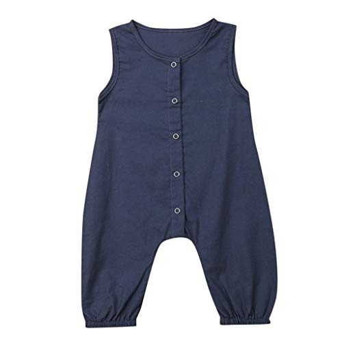 RoDeke Infant/Toddler Girls Boys Sleeveless Solid Color Jumpsuit Button Romper Outfits Set Sunsuit 3-24M Navy