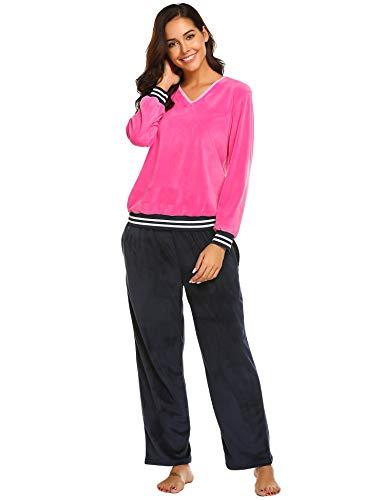 Ekouaer Women's Sleepwear Fleece Hooded Footed Onesie Pajamas (Navy Blue ()