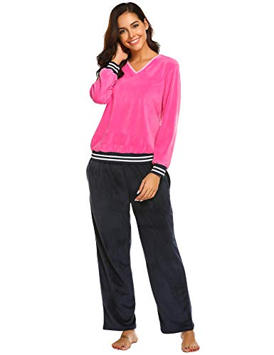 Ekouaer Comfy Pajamas for Women 2-Piece Warm and Cozy Flannel Pj Set of Loungewear (Navy Blue L)