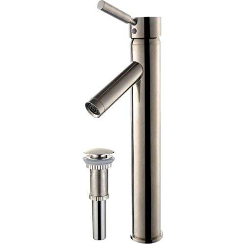 Kraus FVS-1002-PU-10SN Sheven Single Lever Vessel Bathroom Faucet with Matching Pop Up Drain Satin Nickel ()
