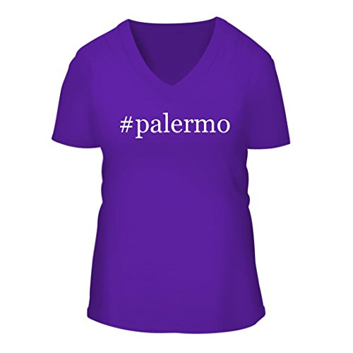 fan products of #palermo - A Nice Hashtag Women's Short Sleeve V-Neck T-Shirt Shirt, Purple, Large