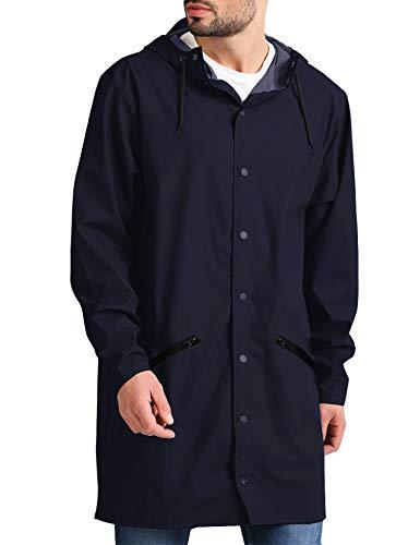 JINIDU Men's Lightweight Waterproof Rain Jacket Packable Outdoor Hooded Long Raincoat (Large, 02-Navy Blue(with Zipper Pockets))