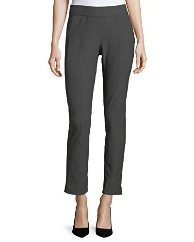 Eileen Fisher Women's Stretch Crepe Slim Ankle Pants, Bark, Petite Large