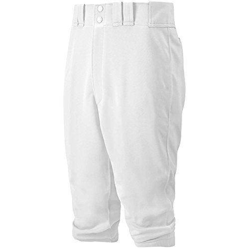 Mizuno Youth Select Short Knicker Baseball Pant, Below the Knee Fit (White, X-Large)
