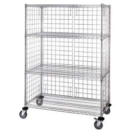 - Quantum Storage Systems M2448C46E 4-Tier Wire Shelving Cart with 3-Sided Enclosure Panel, 5