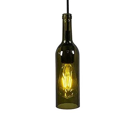 QAZQA rústico Lámpara colgante BOTTLE verde Vidrio/Metálica Otros/Alargada Adecuado para LED Max