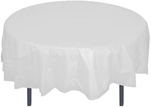 6PC Circular Premium Disposable Round Plastic Tablecloth 84in 84Table Cover Gold