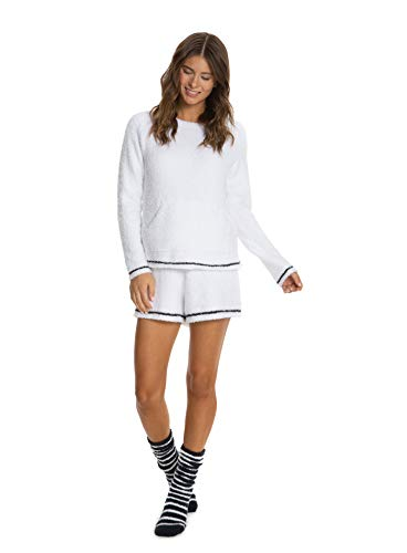 Barefoot Dreams CozyChic 3-Piece Lounge Set for Women, Fuzzy Socks, Shorts, Long-Sleeved Top White