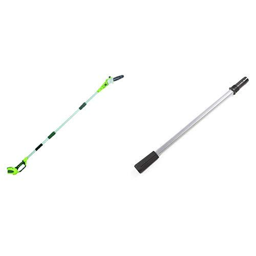 Greenworks 8' 40V Cordless Pole Saw, Battery Not Included 20302 with  EP40A010 Extension Pole for Polesaw/Hedge Trimmer, Black and Green