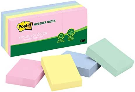 Post-it Greener Notes, 12 Pads/Pack, 1 ½ in. x 2 in, 100% Recycled Paper and a Plant-Based Adhesive, Assorted Helsinki Colors (653-RPA)