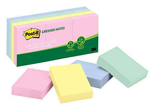 Post-it Greener Notes, 12 Pads/Pack, 1 ½ in. x 2 in, 100% Recycled Paper and a Plant-Based Adhesive, Assorted Helsinki Colors (653-RPA) ()