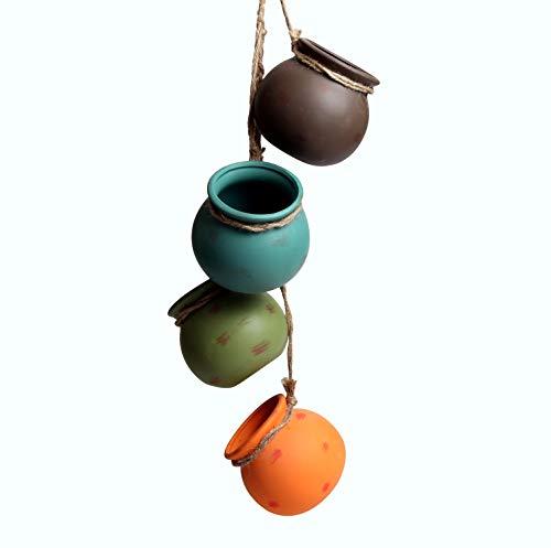 Zufeng 4 PCS Set 4 Inch Dangling Multicolor Ceramic Pot Wall or Ceiling Mount Ceramic Plant Pot Hanging Planter Decorative Flower Pot Holder Home Decor Simple Mini Rope Hanging Pendant Hanging Basket ()
