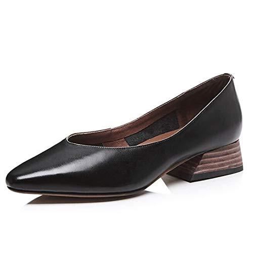 Women's Black Chunky Green Green Summer Leather Brown Heel ZHZNVX Shoes Nappa Heels Comfort 1Zqd1wC