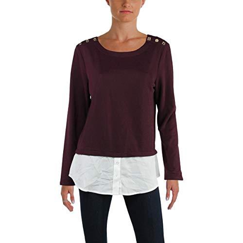 Calvin Klein Women's Textured Twofer Top with Buttons Aubergine Shirt