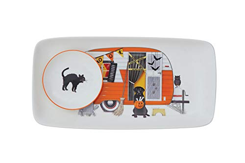 Creative Co-Op Stoneware Platter with Round Dish, Camper & Cat -