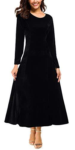 Urban CoCo Women's Elegant Long Sleeve Ruched Velvet Stretchy Long Dress (M, Black)