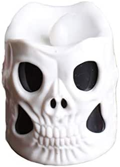 MIS1950s Skull Decor Candle Lights, Halloween Decorations, 3D Skeleton Flameless Lighted Candles Colorful Gradient Night Lights