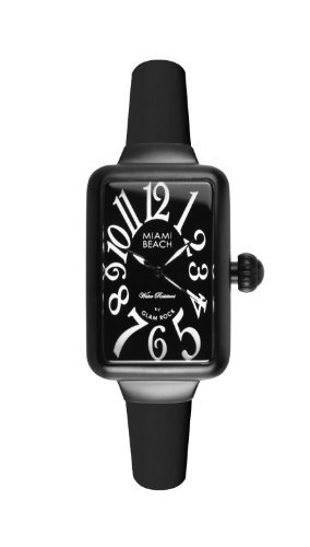 Glam Rock Art Deco Collection Women's Quartz Watch with Black Dial Analogue Display and Black Silicone Strap 0.96.2952