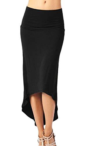 Cromoncent Womens Slim Fit High Rise Hi-Low Tuxedo Bodycon Midi Skirt Black M