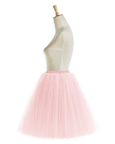 Bridesmay Faldas Tul Mujer Corta Cancan Enagua Retro Rockabilly Pink