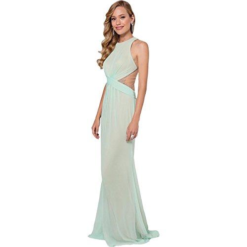 Terani Couture Embellished Illusion Formal Dress Green 0