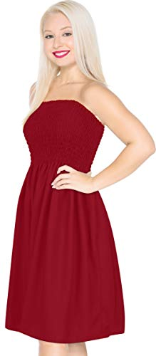 LA LEELA Rayon Solid Cruise Resort Swim Length Knee Tube Dress Red 2035 One Size ()