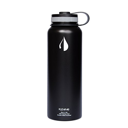 Klear Bottle - 40 Oz Double Insulated Stainless Steel Water Bottle (Black)
