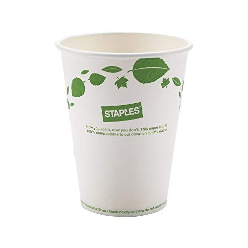 (Sustainable Earth 905198 Hot Cups 12 oz. White/Green 500/CT (SEB40148-CC))