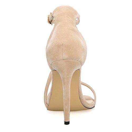 tiras peep terciopelo finas de Cuff tacón desnudo mujeres Señoras alto UK correa zapatos de tobillo sandalias toe de 6 las de tamaño qOTaanICw