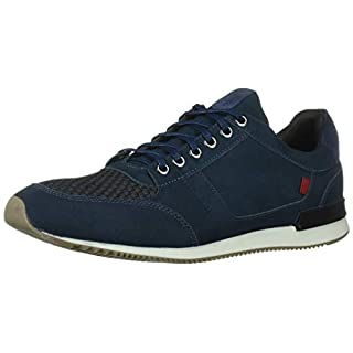 MARC JOSEPH NEW YORK Men's Leather Made in Brazil Luxury Fashion Trainer Sneaker, Navy Nubuck, 7 M US