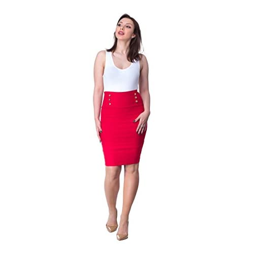 25386a4204 durable service ORLY COLLECTION Women's Elegant Gold Button-Detailed Pencil  Skirt