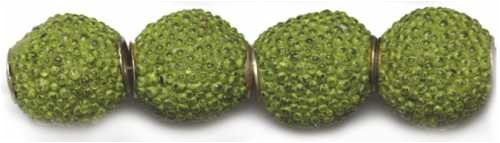 (Glass 10mm Bead - Textured Round 12PK/Lime)