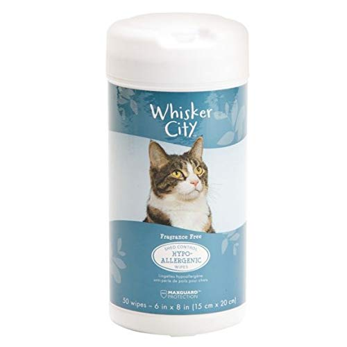 - WHISKER CITY Cat Wipes (Hypoallergenic & Shed Control, 50 Count)