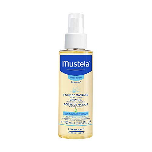 - Mustela Baby Oil, Moisturizing Oil for Baby Massage, with Natural Avocado Oil, Pomegranate and Sunflower Seed Oil, 3.38 Ounce